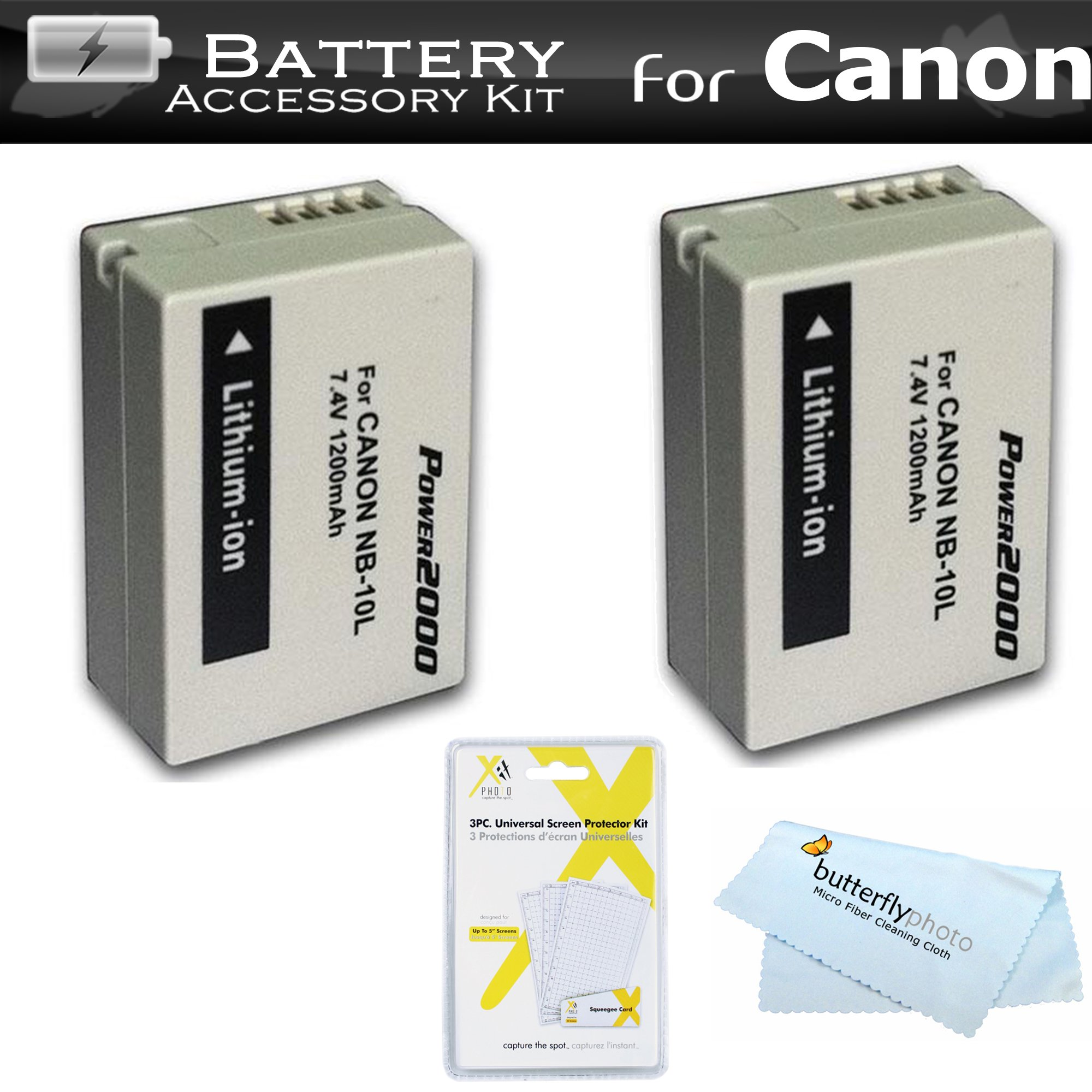 2 Pack NB-10L Battery Kit For Canon PowerShot SX40 HS, SX50 HS, SX50HS, G1 X G1X, G15, G16, SX60HS, SX60 HS, G3 X Digital Camera Includes 2 Extended Replacement (1200Mah) NB-10L Batteries + More