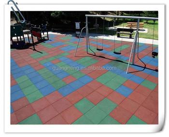 500mmx 25mm Rubber Playground Flooring Outdoor Floor Tiles In Garden