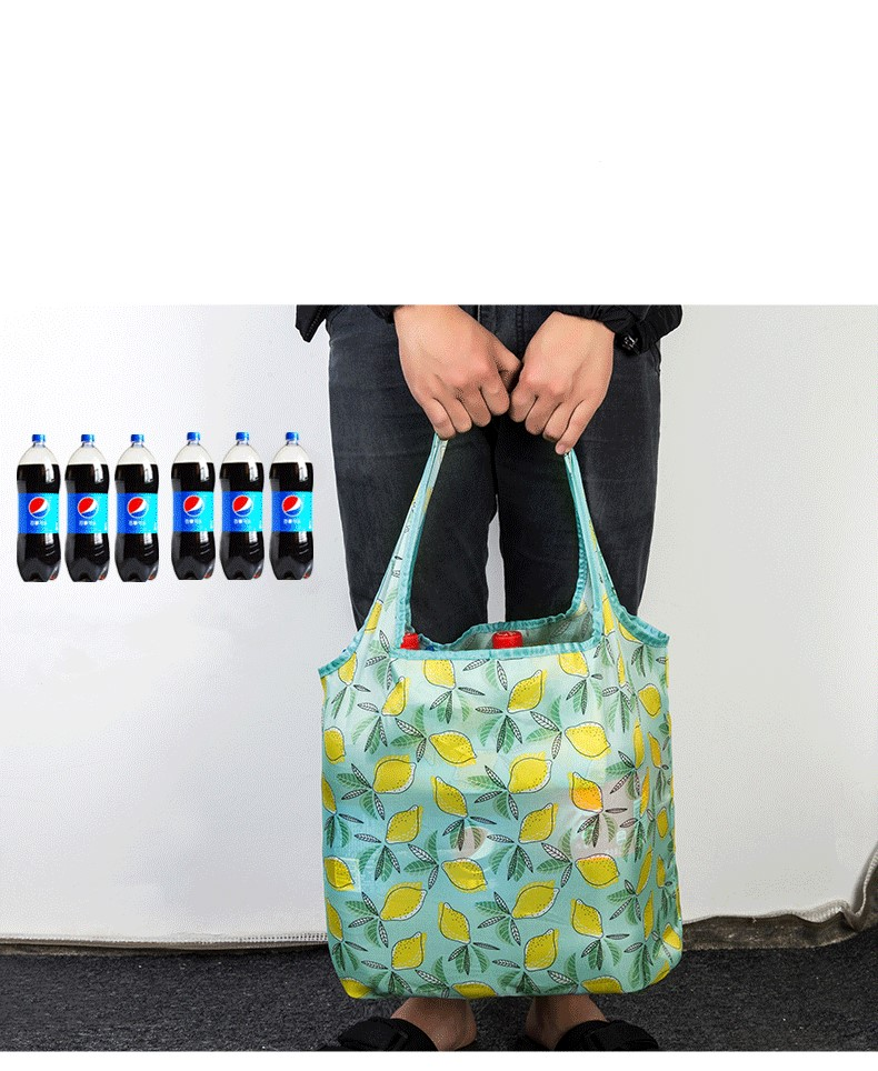 Eco-Friendly folding Shopping Bag Reusable nylon tote bag custom portable cloth polyester  foldable grocery tote shopping bag