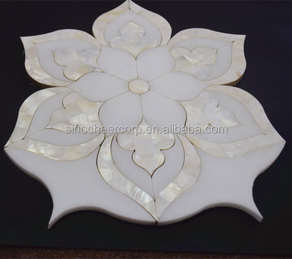 Hot-selling Flower Shape Waterjet White Mosaic Marble Tile For Floor