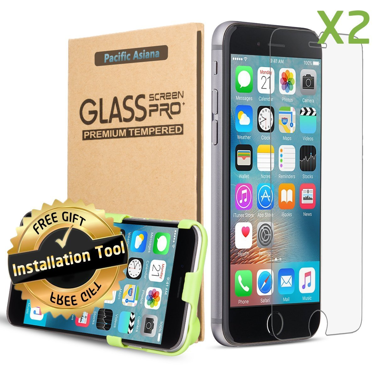 [2-pack with Tool] iPhone 7 Screen Protector, Pacific Asiana Premium 0.3mm HD Clear [Tempered Glass] Screen Cover Film, 9H Hard/Scratchproof/Easy to Install Screen Saver for Apple iPhone 6S/6 iPhone 7