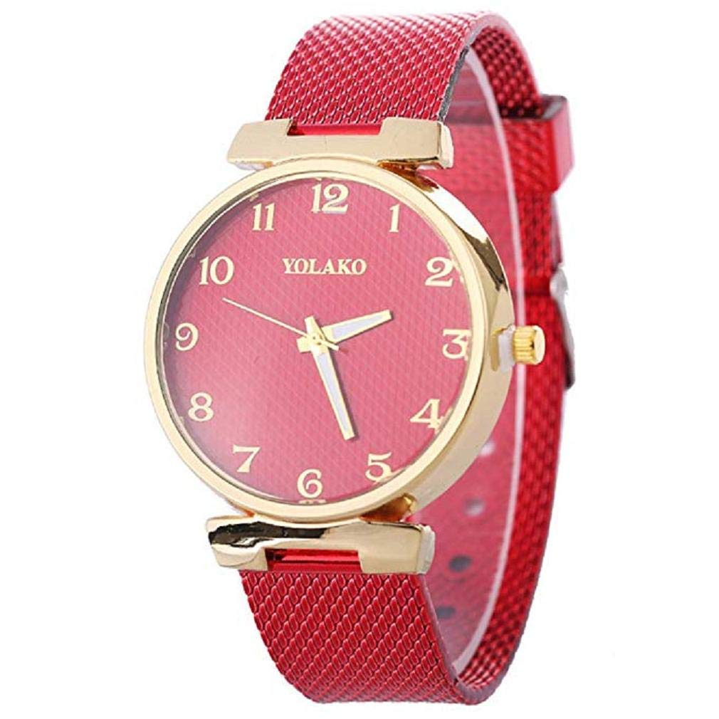 Womens Quartz Watches,Windoson Women's Ladies Teen Girls Fashion Dress Wrist Quartz Watch with Leather Band Unique Casual Analog Quartz Watches Classic Wristwatch (Red)