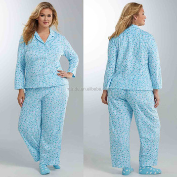 Fat Women Winter Long Sleeve Fleece Girlfriend Pajama Set Plus Size  Sleepwear Wholesale High Quality 5d5f53ac2