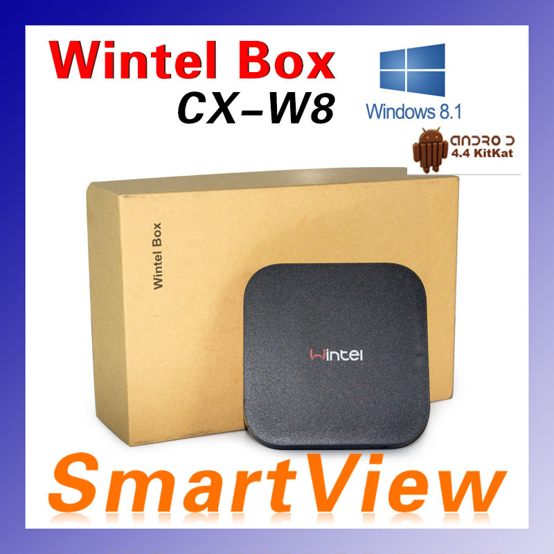 1pc Wintel W8 Mini PC Box with windows8 8.1 OS Intel Quad Core 1.33GHz CPU 2G RAM 32G Storage with Bluetooth Free shipping