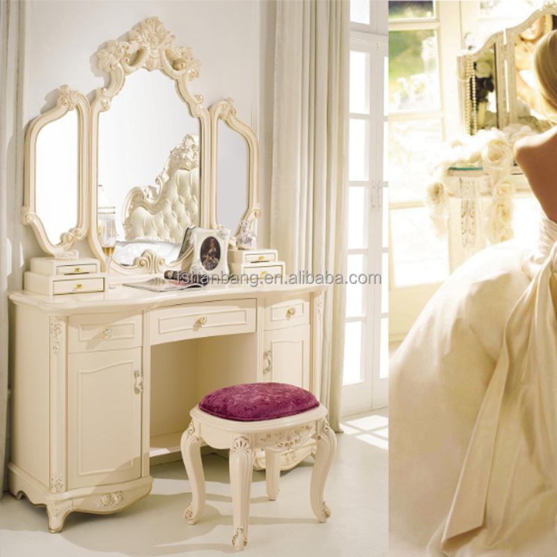 Moderne europ enne fran ais baroque style ivoire blanc en bois coiffeuse avec 3 miroirs et - Barock schminktisch ...