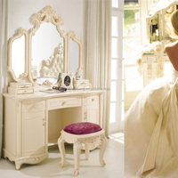 Modern European French Baroque Style Ivory White Wooden Dressing table with 3 mirrors and cupboard