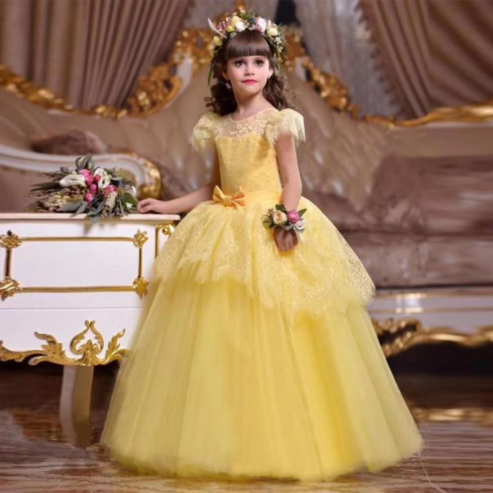 Kids party dress wholesale baby velvet girls summer maxi lace kids dresses for birthday wedding party LP-221