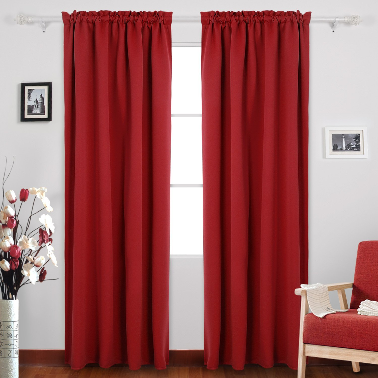 Get Quotations Deconovo True Red Blackout Curtains Window Room Darkening Rod Pocket For S