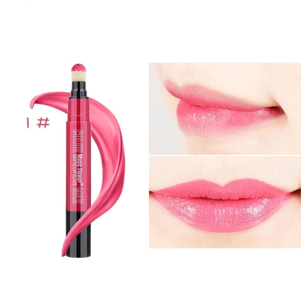 Lipstick DEESEE(TM) 6 Colors Highly Pigmented Waterproof Long Lasting Makeup Rotating Soft Air Cushion Sponge Lipstick Matte Silky Bite Lip Lipstick (1 #)