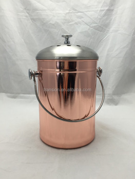 New Design 1 Gallon Copper Plated Kitchen Stainless Steel Compost Bin, Warm Compost  Pail With