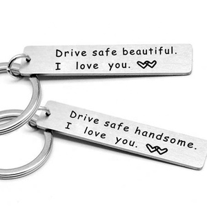 Wish hot sale engraved logo car drive safe square stainless keychain