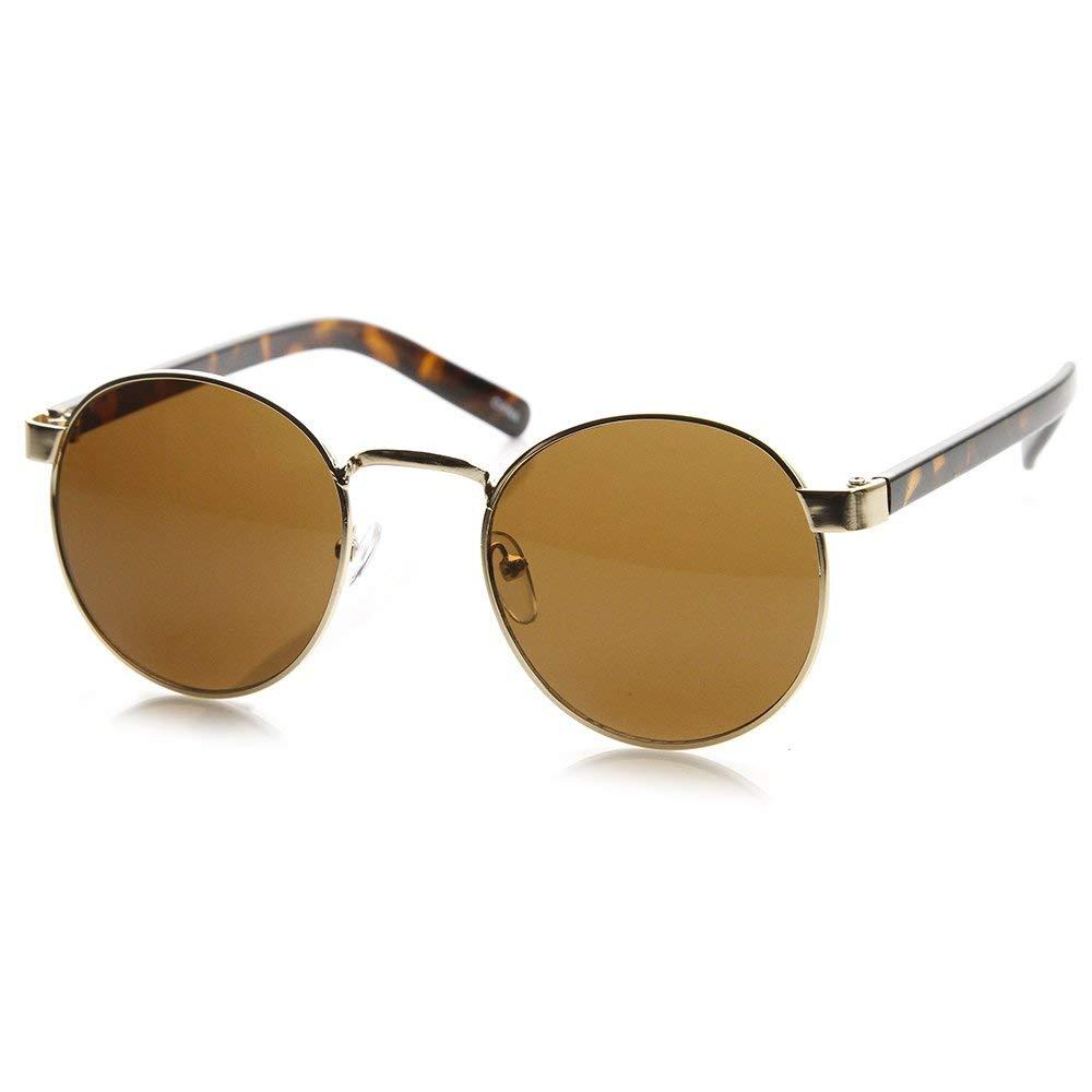 f7db095f8cb Get Quotations · zeroUV - Lennon Style Round Metal Sunglasses Men Women  Salt Bae Glasses