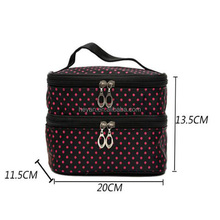 Fashion Double Layer Satin Travel Cosmetic Bag with Compartment