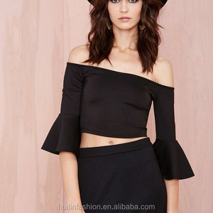 wholesale clothing new york women off shoulder bell sleeves crop top