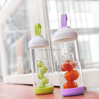 480ml water filter bottle sport glass fruit bottle silicone water canteen with silicone strap