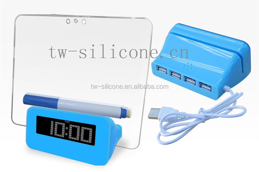 Rechargeable LCD Alarm Clock with 4 USB Hubs
