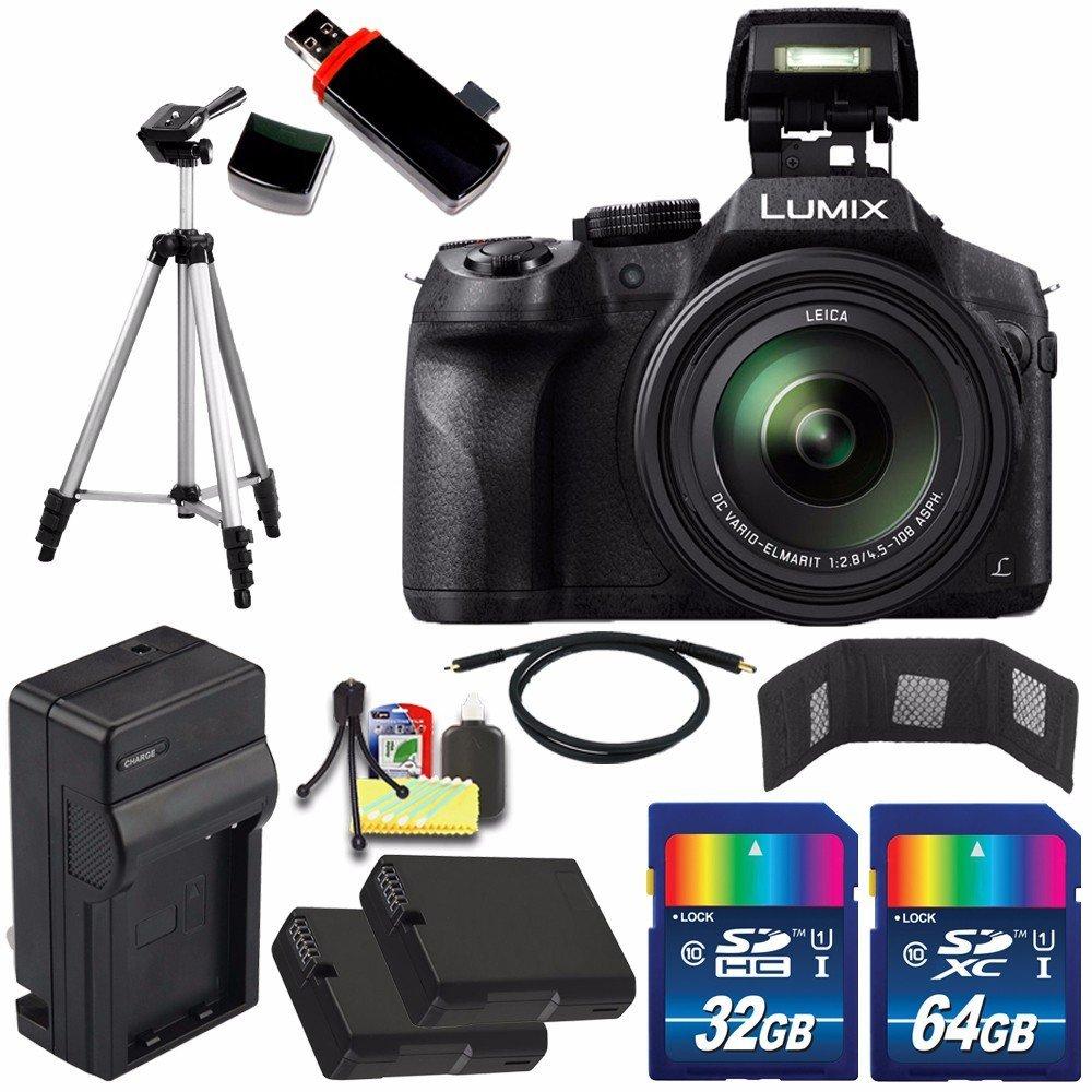 Panasonic Lumix DMC-FZ300 Digital Camera + Extra battery + Charger + 32GB Card + 64GB Card + HDMI Cable + Tripod + USB Card Reader + Memory Card Wallet + Deluxe Accessory Kit Bundle