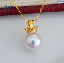 Akoya pearl 18 k gold pendant 8-8.5mm AAA round white color sea pearl pendant