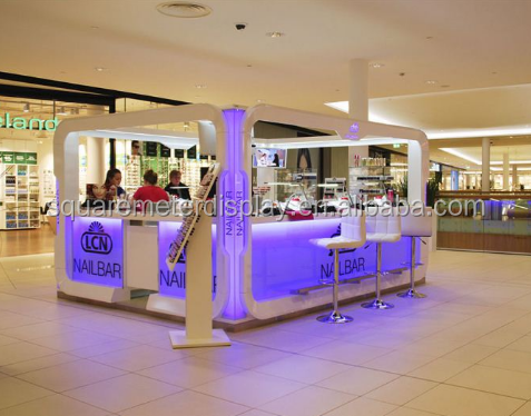 Customized nail bar kiosk display furnitures with manicure table