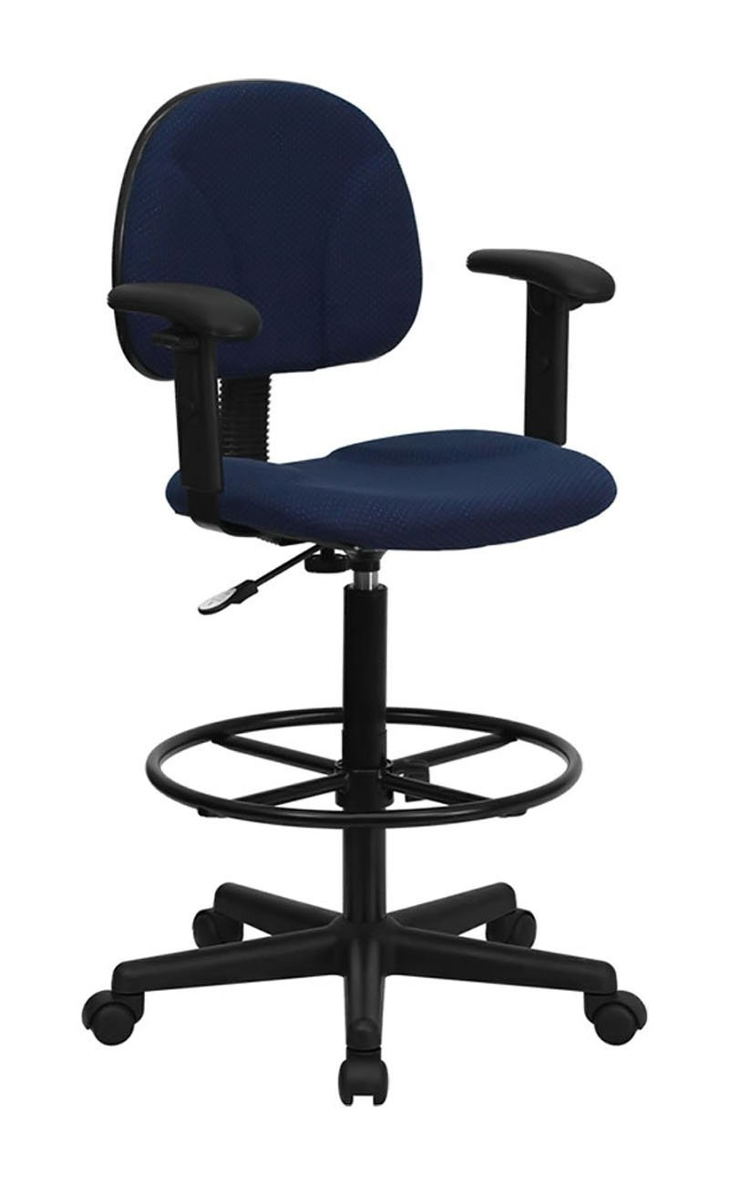 Flash Furniture Navy Blue Patterned Fabric Multi-Functional Ergonomic Adjustable Mobile Drafting Stool with Arms Footrest Electronics, Accessories, Computer