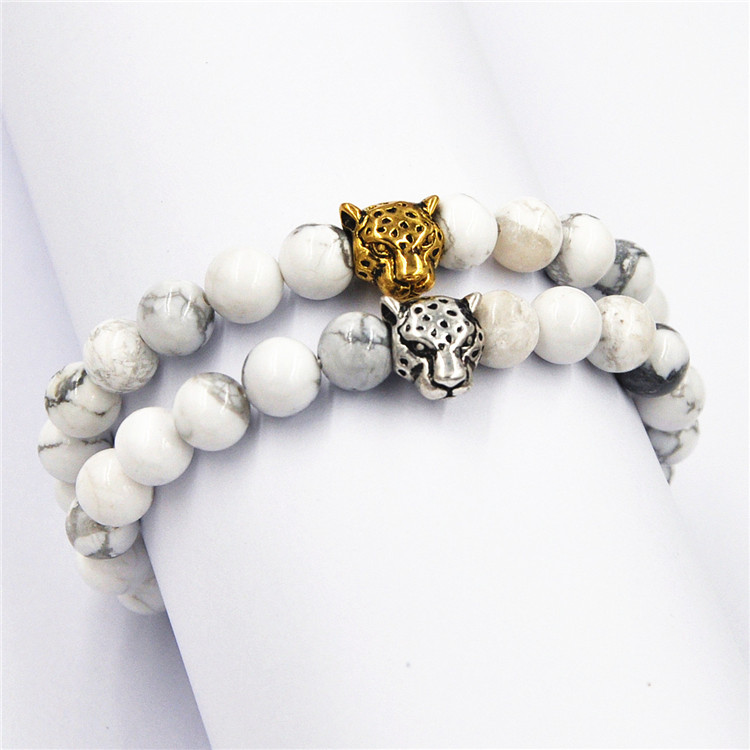 ALIBABA Online Shopping silver&gold Leopard Head white turquoise Agate Stone Bracelet for gift free shipping