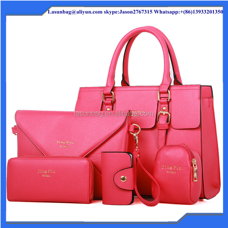 Fashion PU Tote Bag Lady 5 pcs Handbag Set Women Shoulder Key Portable Wallet Purse Handbag Hot Sale