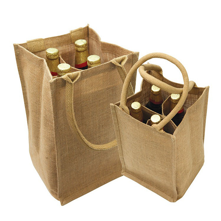 Customized Logo Wholesale Jute Wine Bag,  Jute Shopping Bag Printed