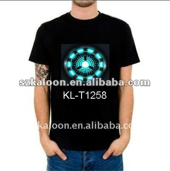 high quality 100% cotton flashing EL t-shirt equalizer sound active led glow shirt