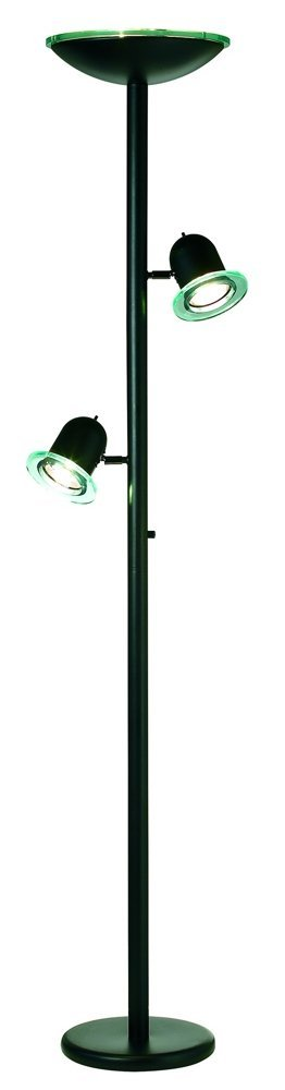 Black Gloss 3-in-1 Contemporary Torchiere Floor Lamp