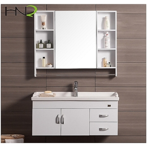 hot sale white modern bathroom medical storage sink vanity cabinet with mirror cabinet towel bar
