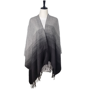 Blanket Winter Loose Outerwear Coat Oversized Knitted Kimono Poncho Cape Shawl with Tassel