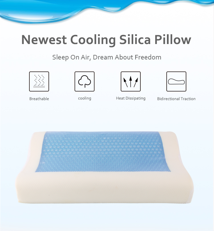 Silicone Pillow Gel Cushion Orthopedic  Anti Snore Memory Foam Cooled Gel Pillow Ice Cooling Gel Memory Foam Pillow For Hospital