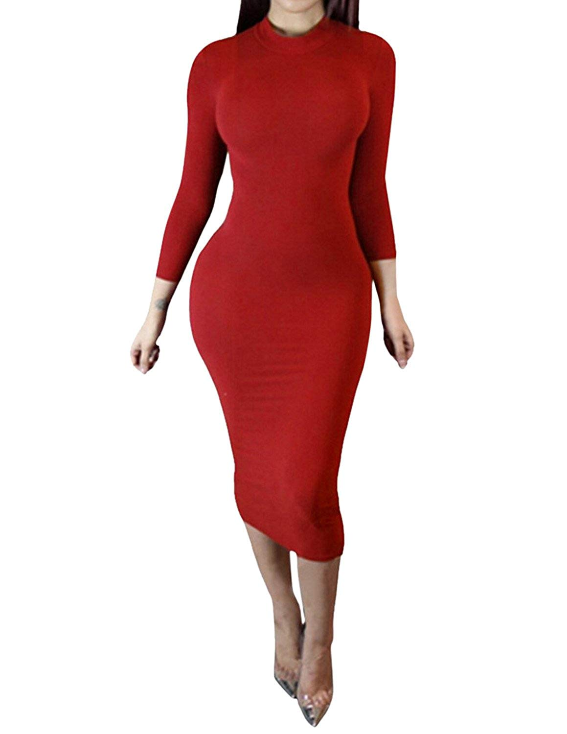 6e283e33d24 Dramaticbuying Women s Bodycon Midi Dress Turtleneck Long Sleeve Tight Club  Dress