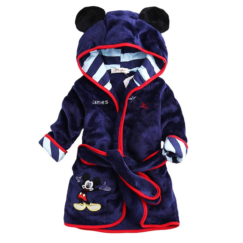 Hot Sale Children Hooded Bathrobe Towel Baby Boys Girls Flannel Lovely  Cartoon Animal Robes Dressing Gown Kids Home Clothing 00424cf5d