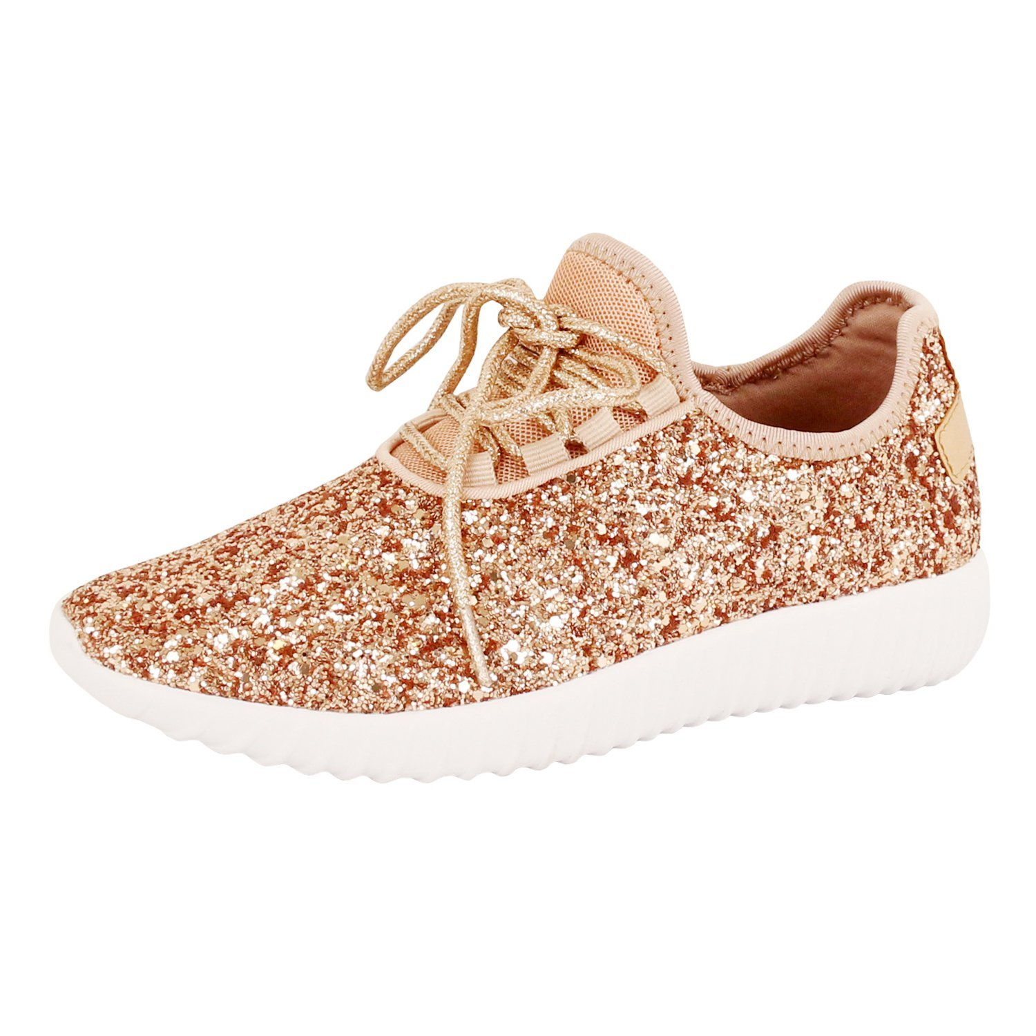 9903aa8af2a4 Get Quotations · Guilty Shoes Womens Fashion Glitter Metallic Lace Up  Sparkle Slip On - Wedge Platform Sneaker