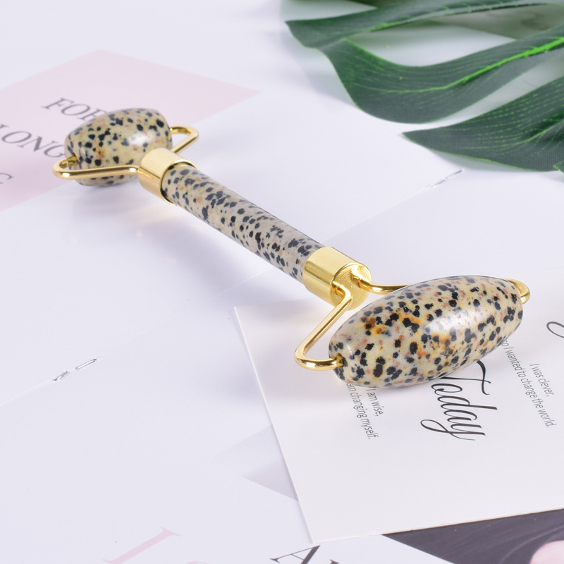 Jade Roller Real Natural Tinea Stone Point Stone Welded Smooth Jade Facial Massager Double Roller for Body Special Stone