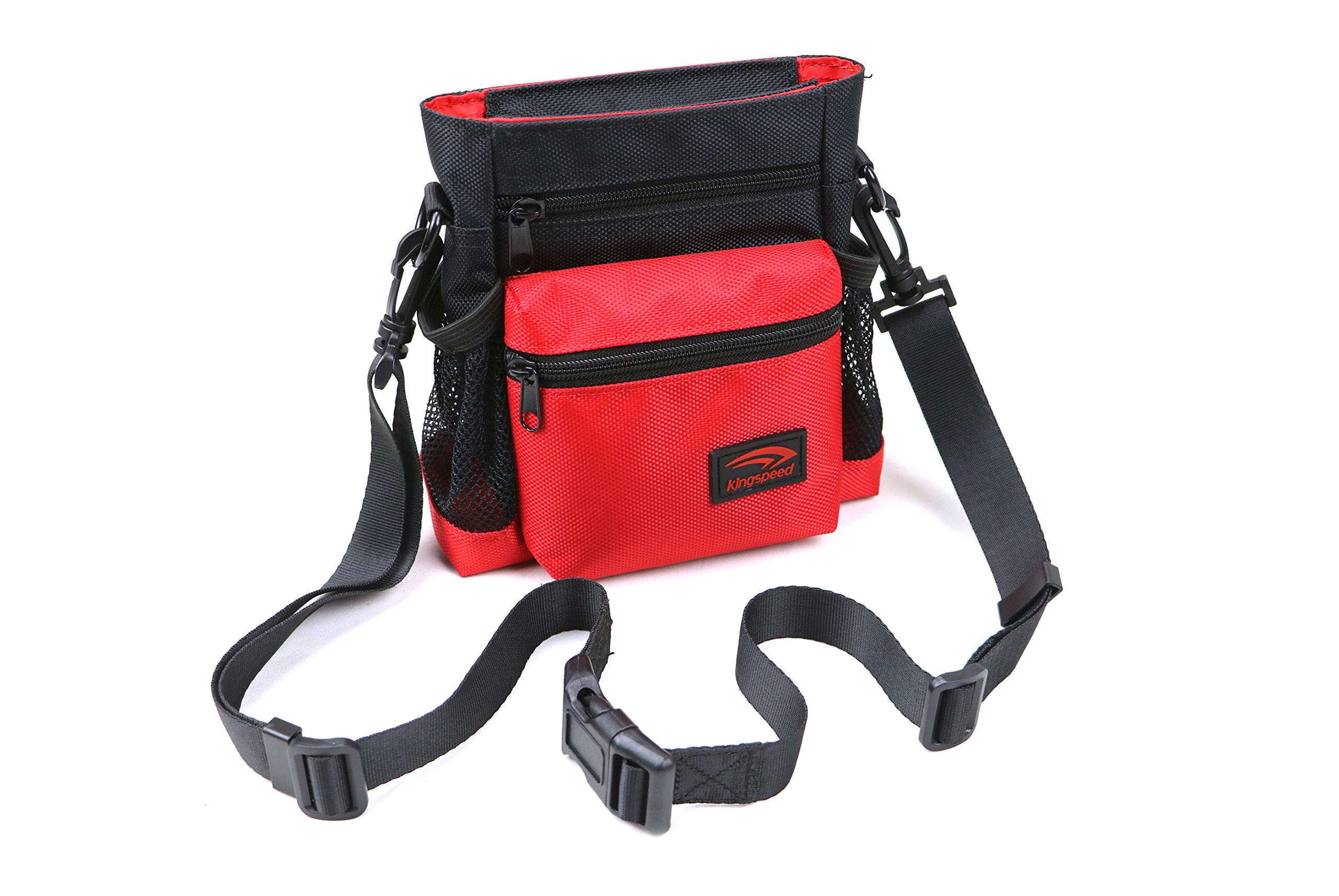 Kingspeed Dog Treat Bag Dog Training Pouch for Treats & Toys Lightweight & Stylish Treat Tote with YKK Zippered Compartments & Mesh Pockets Shoulder & Waist Pet Treat Pouch Red & Black
