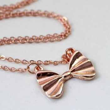 Girls bow necklace gold silver bow pendant necklace cute boy and girls bow necklace gold silver bow pendant necklace cute boy and girl pendant necklaces aloadofball Image collections