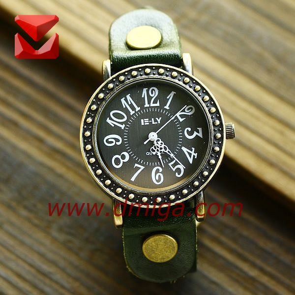 vintage copper color watches big dial dot outer ring pu leather