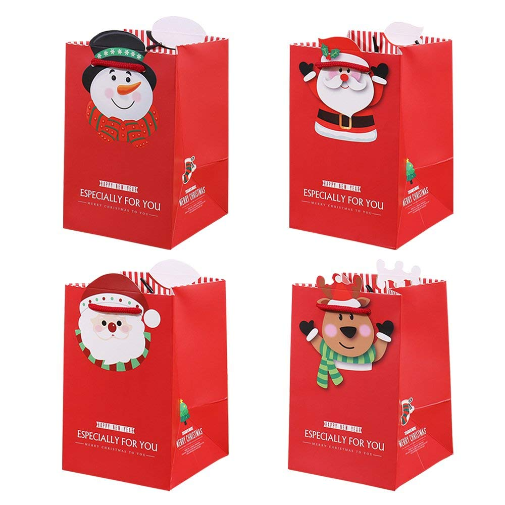 """Riverbyland Christmas Paper Gift Bags 7"""" x 5"""" x 4"""" Small Candy Bag Set of 10"""