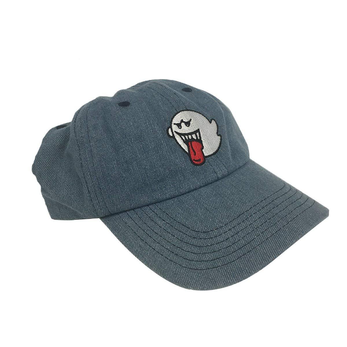 b2c26316115 Get Quotations · MyPartyShirt Ghost Boo Blue Denim Hat Baseball Cap Super  Mario Bros Dad Buckle Teresa Gift