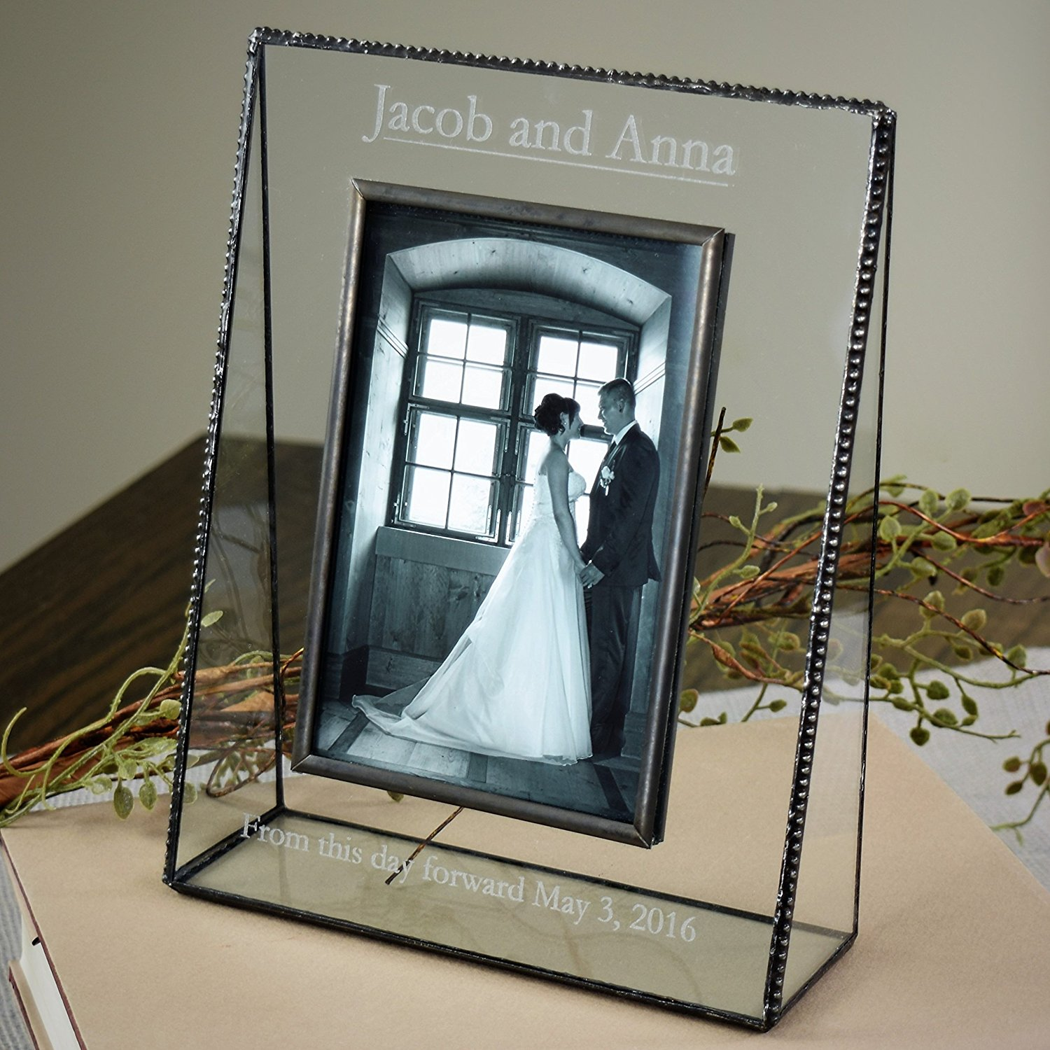 J Devlin Pic 319-57V EP548 Personalized Wedding Engagement Anniversary Picture Frame Tabletop 5 x 7 Photo Clear Engraved Glass