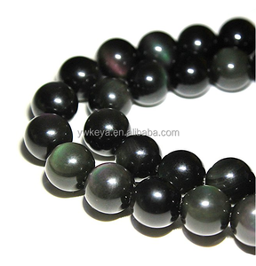 Natural Black Obsidian Gemstone Round Loose Beads for Jewelry Making