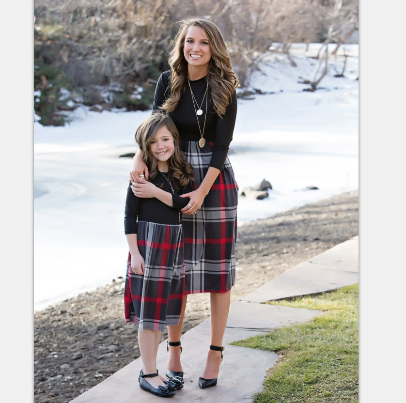 2019 New Plaid 3/4 Sleeve Dress Black Mother Daughter Matching Dress (this link for WOMAN)