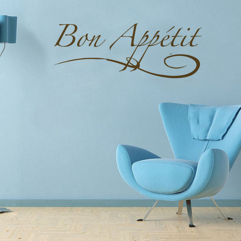 Bon Appetit French Enjoy your meal Vinyl Art Wall Sticker Home Decor Removable Adhesive Wall Decals