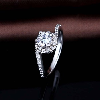 925 Silver Simple Design Wave Shaped Cz Diamond Finger Rings For Engagement