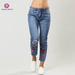 Embroidery flower design blue loose style knee ripped mom jeans womens