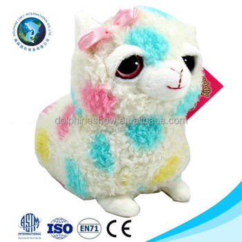 Colorful Cute Cheap Plush Toy Rainbow Llama Custom Fashion Big Eyes