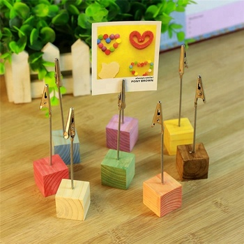 Color cube stand desk card picture memo photo clip holder