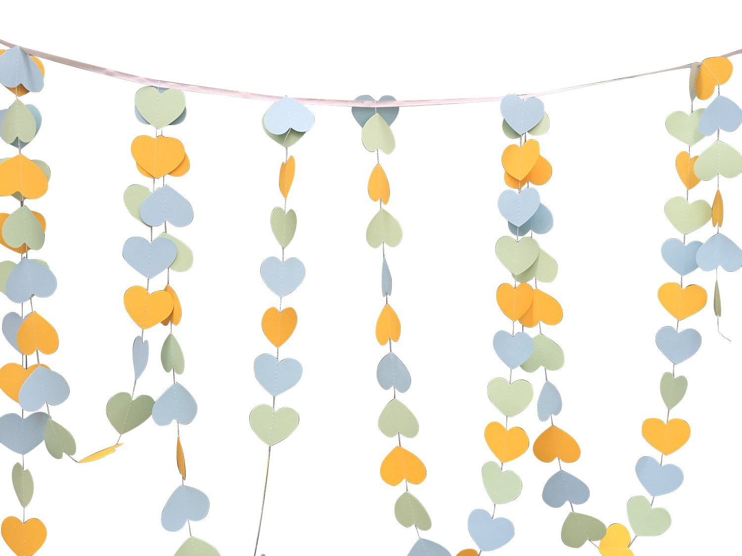 Pack of 4pcs 10-feet Long Paper Sweet Heart Shaped Hanging Decoration String Paper Garland Wedding Birthday Party Baby Shower Background Decorative Color Yellow Blue Mint